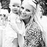 At fiancé Eric Johnson's birthday party, Jessica Simpson reflected back on where she was a year ago — when lil Maxwell was in her womb. Source: Jessica Simpson