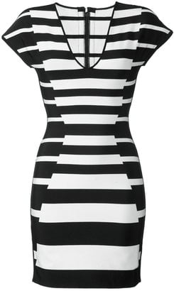 Herve Leger Striped Bandage Dress