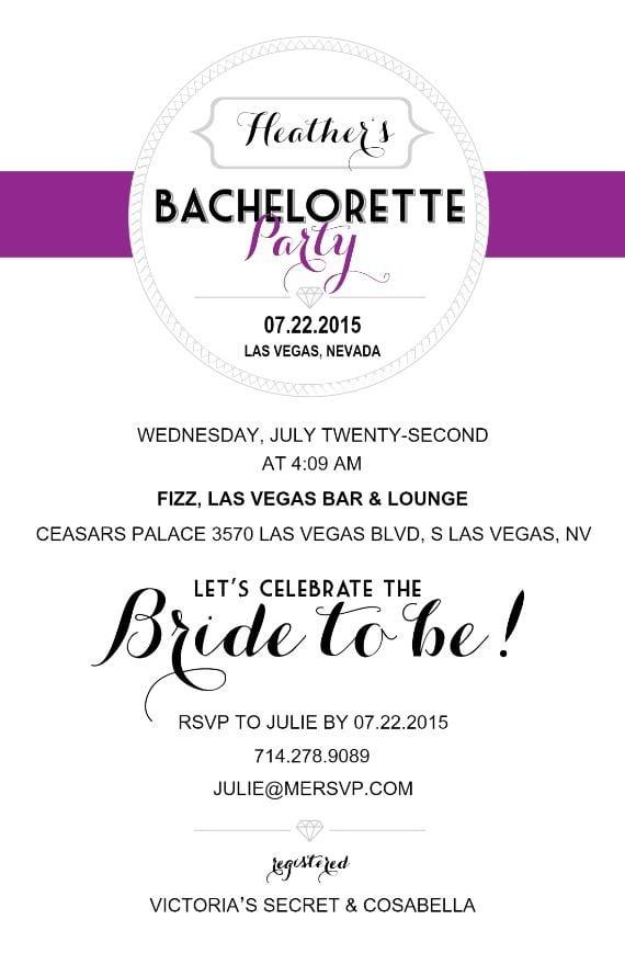 Purple Party Invitation | Free Bachelorette Party Printables ...