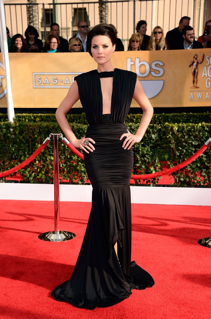 Jaimie Alexander went dramatic in a black ruched Marc Bouwer gown, complete with a plunging neckline and high-low train.