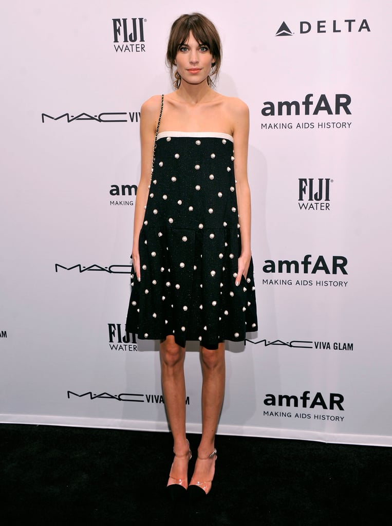 Alexa Chung wore a strapless dress at the amfAR gala in NYC.