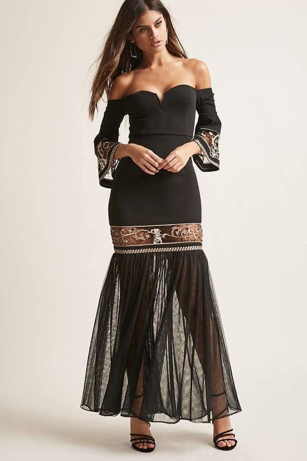 Forever 21 Soieblu Embroidered Off-the-Shoulder Gown