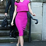 Miranda stepped out to promoted her Royal Albert teaware collection in this popping pink Victoria Beckham number, and she accessorized with her Miu Miu sunglasses and nude Céline pumps.