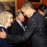 On the same day, the former president showed the same unstuffy warmth to Camilla, Duchess of Cornwall.