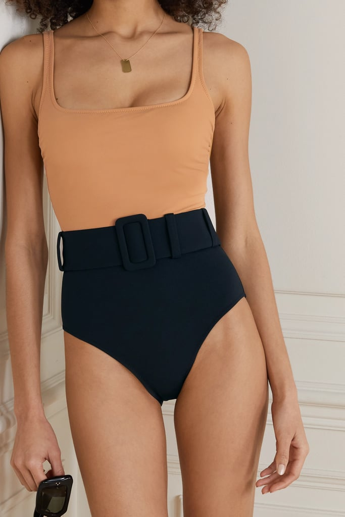 Evarae + Net Sustain Cassandra Belted Two Tone Stretch Econyl Swimsuit