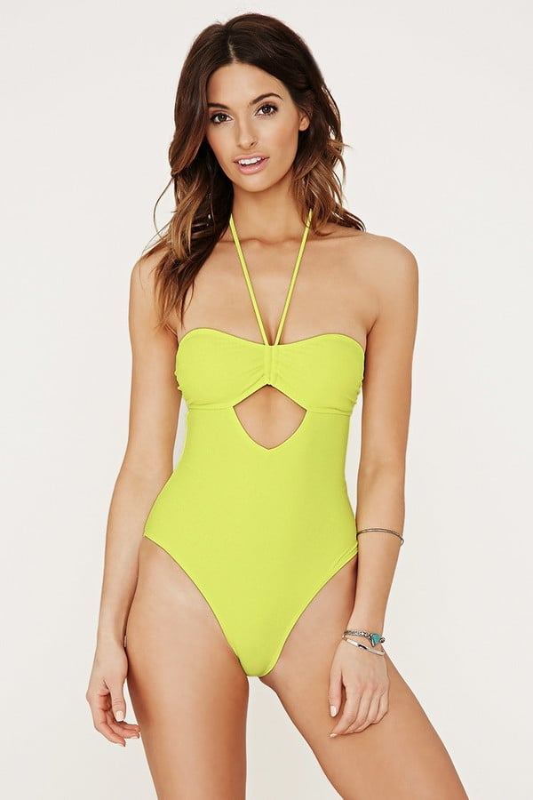 Forever 21 ruched halter one-piece ($20)