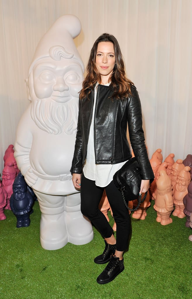 Rebecca Hall wore Mulberry's Soft Biker in Black Leather, Studded Sneakers in Black, and carried the Maisie Shoulder in Black Shearling from the Autumn Winter 2012 collection.
