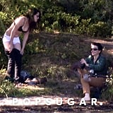 Kristen Stewart in Her Bra on Set