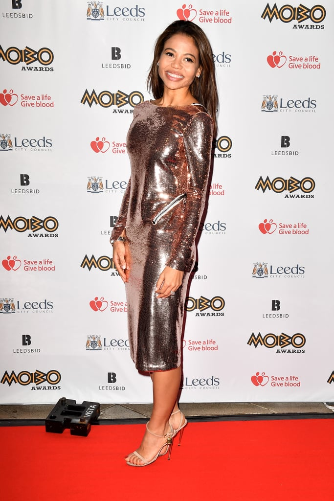 Standing out in shiny metallics at the MOBO Awards in 2017.