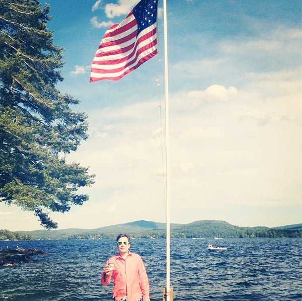 Jimmy Fallon got patriotic on a lake for Fourth of July.  Source: Instagram user jimmyfallon