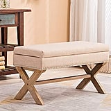 Fabric Upholstered Storage Ottoman Bench