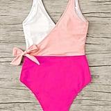 Shein Colorblock Surplice Neck One-Piece Swimsuit