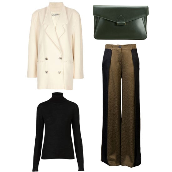 Add some dimension to your look by pairing a turtleneck with fluid two-toned trousers and a Winter white oversize coat — an ideal look for the office. Shop the look:  Topshop Knitted Merino Wool Roll Neck Top ($90) Derek Lam Francis Clutch ($990) Guy Laroche Vintage Oversize Jacket ($164) 10 Crosby By Derek Lam Wide Leg Trouser ($365)