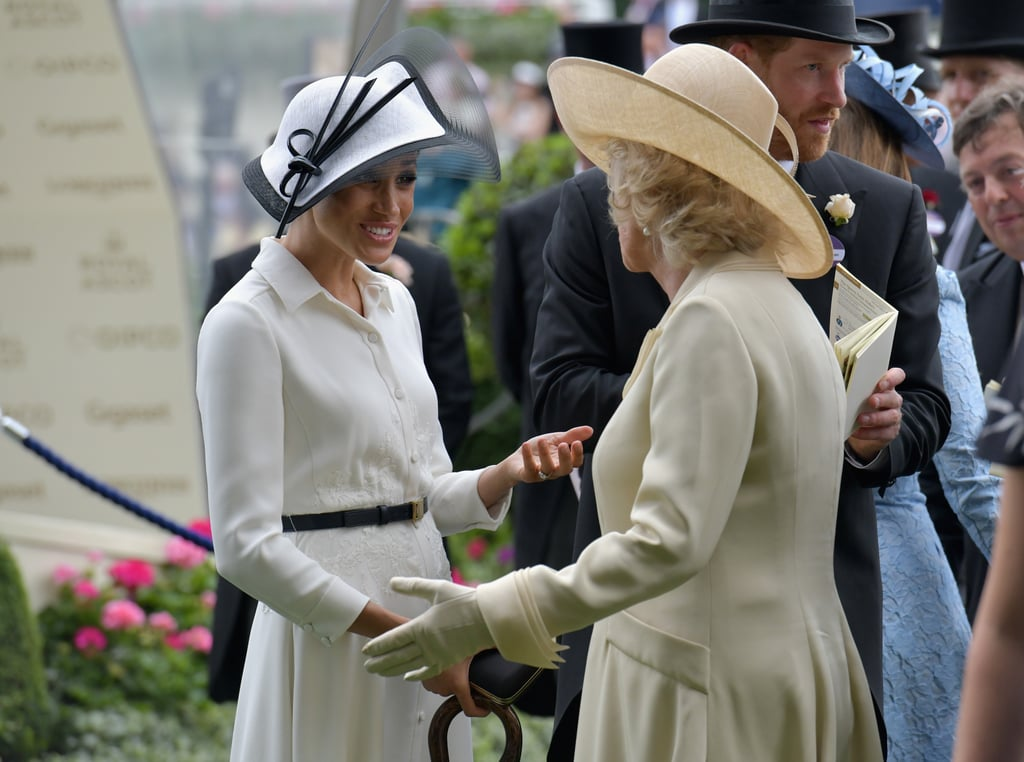 It's been just a month since Meghan Markle and Prince Harry married in a spectacular ceremony surrounded by 600 of their closest family and friends, and it looks like the new duchess is already super close with her royal family. Meghan and mother-in-law Camilla Parker Bowles first hit it off during Prince Charles's 70th birthday patronage at Buckingham Palace, when they shared lots of laughs after a bumblebee swarmed the stage during Harry's speech. Most recently, the two smiled and conversed at Meghan's first official Royal Ascot, while hanging out with Prince Harry and Prince Charles at the annual horse racing event. We already know Camilla is a jokester based on her close, smile-filled bond with Kate Middleton, but it's great to see how she's hitting it off with Meghan. Check out all the sweet photos of Meghan and Camilla ahead, and then, read more about Prince Harry and Prince William's relationship with their stepmother.      Related:                                                                                                           20 Photos That Show How William and Harry Have Embraced Camilla as Their Stepmom