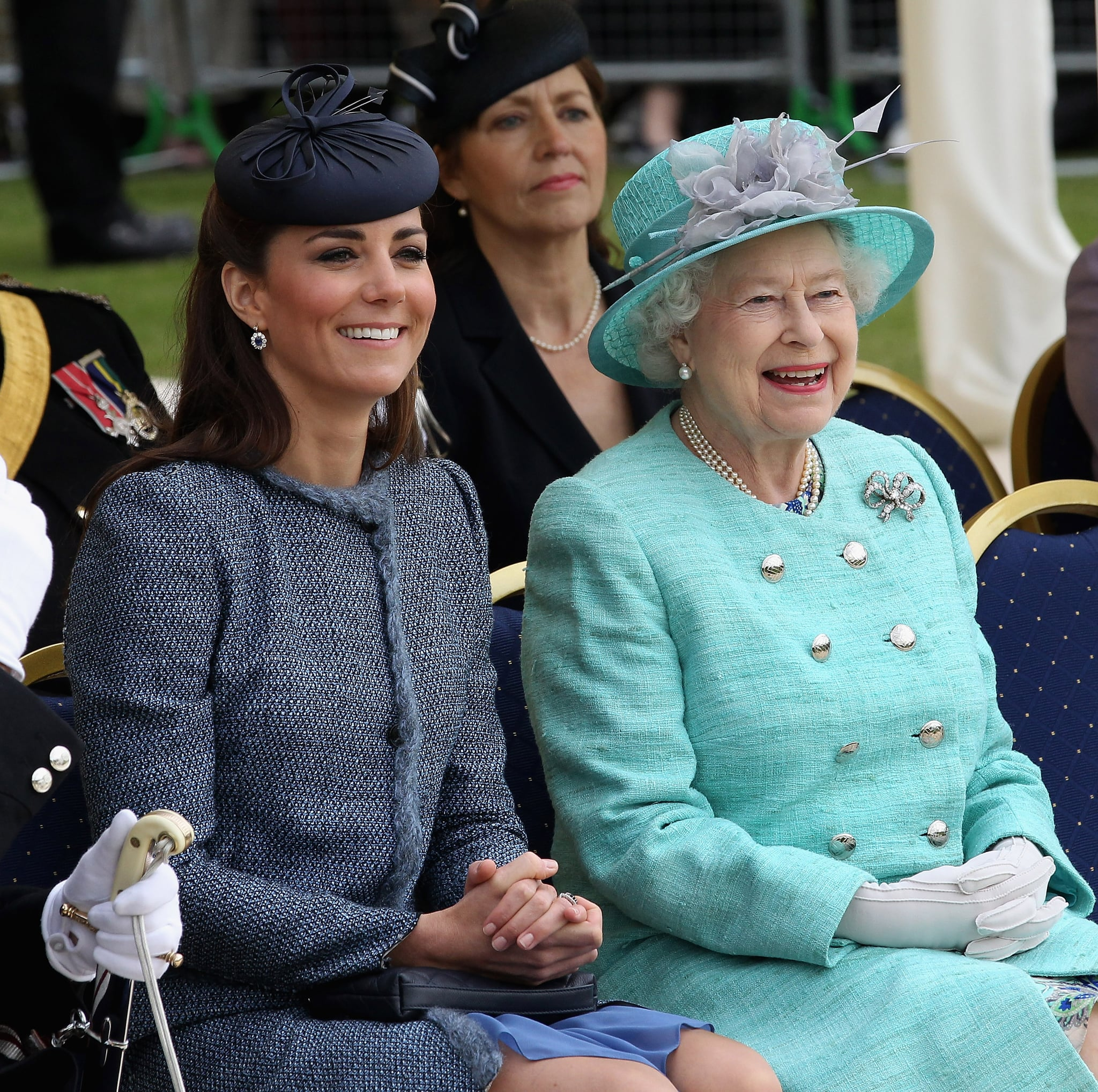 NOTTINGHAM, ENGLAND - JUNE 13:  Catherine, Duchess of Cambridge and Queen Elizabeth II smile as they visit Vernon Park during a Diamond Jubilee visit to Nottingham on June 13, 2012 in Nottingham, England.  (Photo by Chris Jackson/Getty Images)