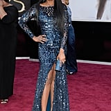 Jennifer Hudson —mama to lil David — wore a blue Roberto Cavalli Couture gown on the Oscars red carpet.