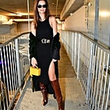 Emily Ratajkowski Black Dress and Brown Boots at Super Bowl