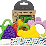 Ike & Leo Teething Toys: Baby Infant and Toddler With Pacifier Clip