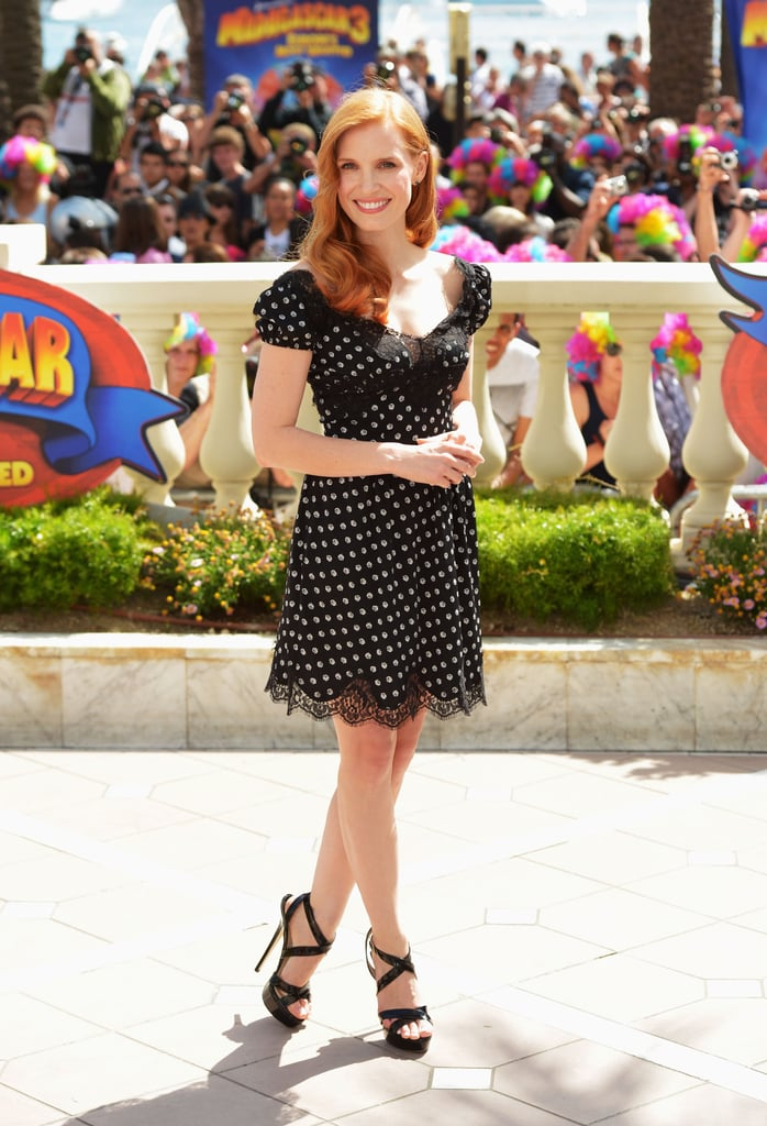 Jessica Chastain showed the perfect amount of polka-dot sweetness in Cannes recently, where she donned a Dolce & Gabbana dress with lace trim. She paired the frock with some seriously sexy Jimmy Choo heels.