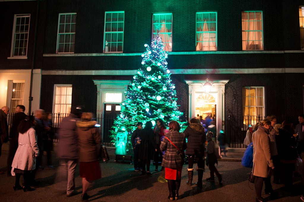 People attended the lighting of Downing Street's Christmas tree in London.