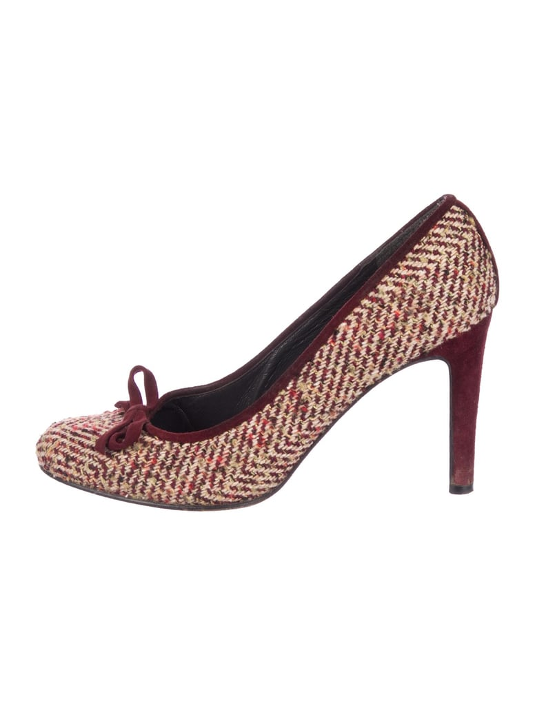 Stuart Weitzman Tweed Round-Toe Pumps