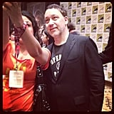 Shannon caught director Sam Raimi posing with a fan after the Oz press conference.