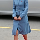 For a remembrance service in Blenheim, Kate wore a light blue Alexander McQueen coat with military details.