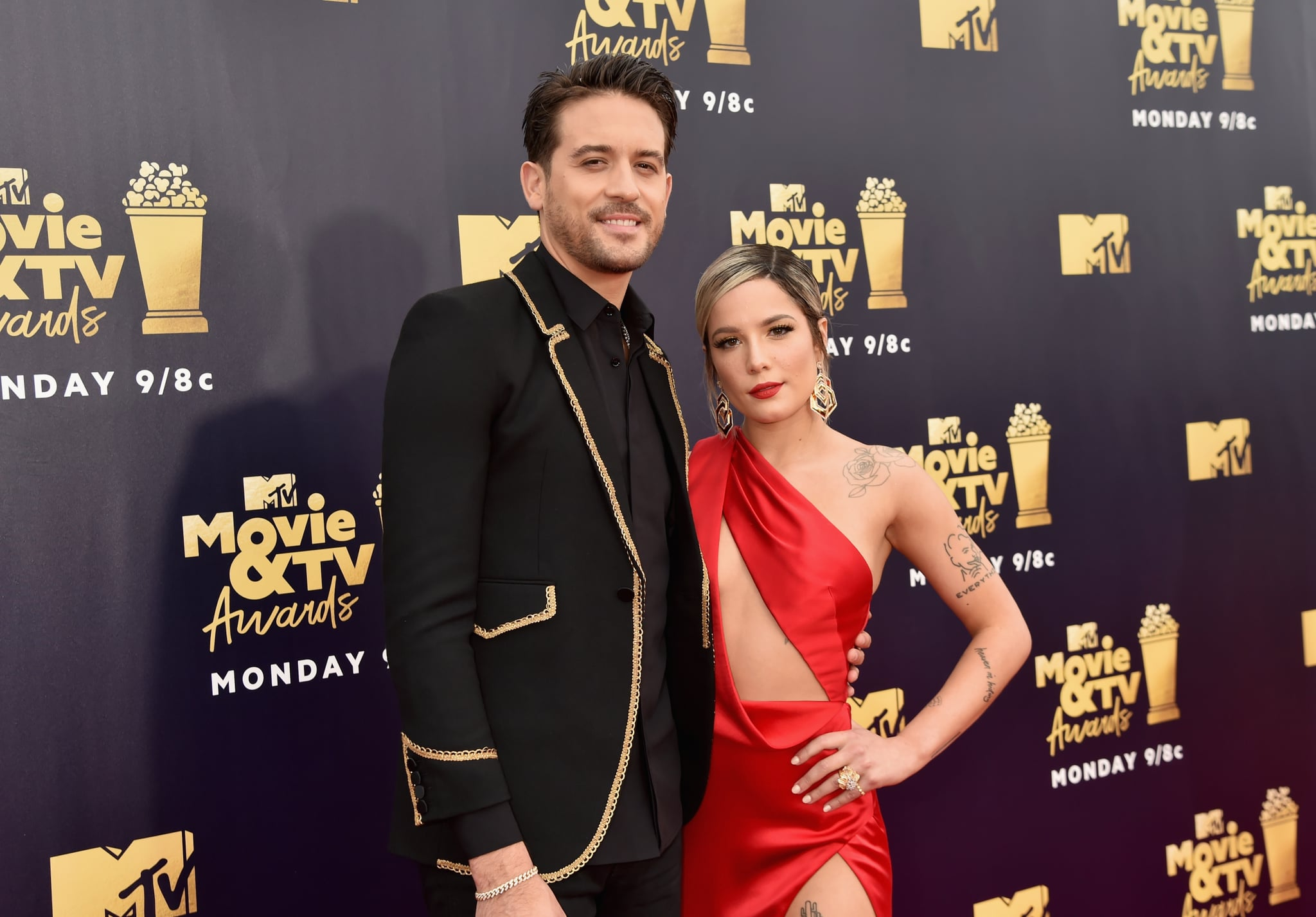 SANTA MONICA, CA - JUNE 16:  Recording artists G-Eazy (L) and Halsey attend the 2018 MTV Movie And TV Awards at Barker Hangar on June 16, 2018 in Santa Monica, California.  (Photo by Jeff Kravitz/FilmMagic)