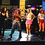 The ladies practiced their hot dance moves at a rehearsal for the September 1997 MTV VMAs in NYC.