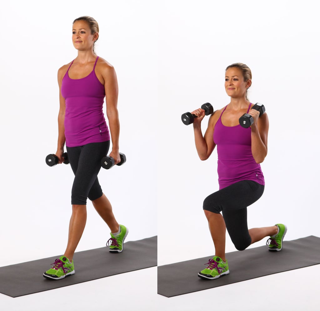 Alternating Forward Lunges With Bicep Curls