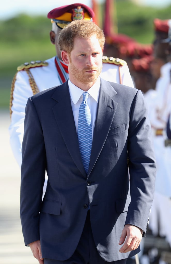 "Prince Harry has officially kicked off his Caribbean tour! On Sunday, the royal touched down at the V.C.Bird International Airport in Antigua to begin his 14-day tour of the region. Upon his arrival, Harry was welcomed by governor Sir Rodney Williams and a large banner that read, ""Antigua & Barbuda Welcomes Prince Henry of Wales."" The young royal will be visiting seven different countries throughout his trip, and will attend several independence anniversary ceremonies. He will also spend some of his time focusing on the environment by learning about turtle conservation projects, replanting coral reefs, and spending six nights on a Royal Fleet Auxiliary Wave Knight vessel that is used for disaster relief. During his stop in Barbados, Harry is set to mingle with Rihanna at the Golden Anniversary Spectacular Mega Concert, which is being held to celebrate the island's 50 years of independence.       Related:                                                                                                           Everything We Know About Prince Harry and Meghan Markle's Royal Relationship"