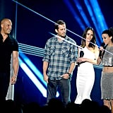 Vin Diesel, Paul Walker, Jordana Brewster, and Michelle Rodriguez from The Fast and the Furious made an appearance during the night.