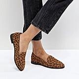 boohoo Stud Leopard Print Loafer