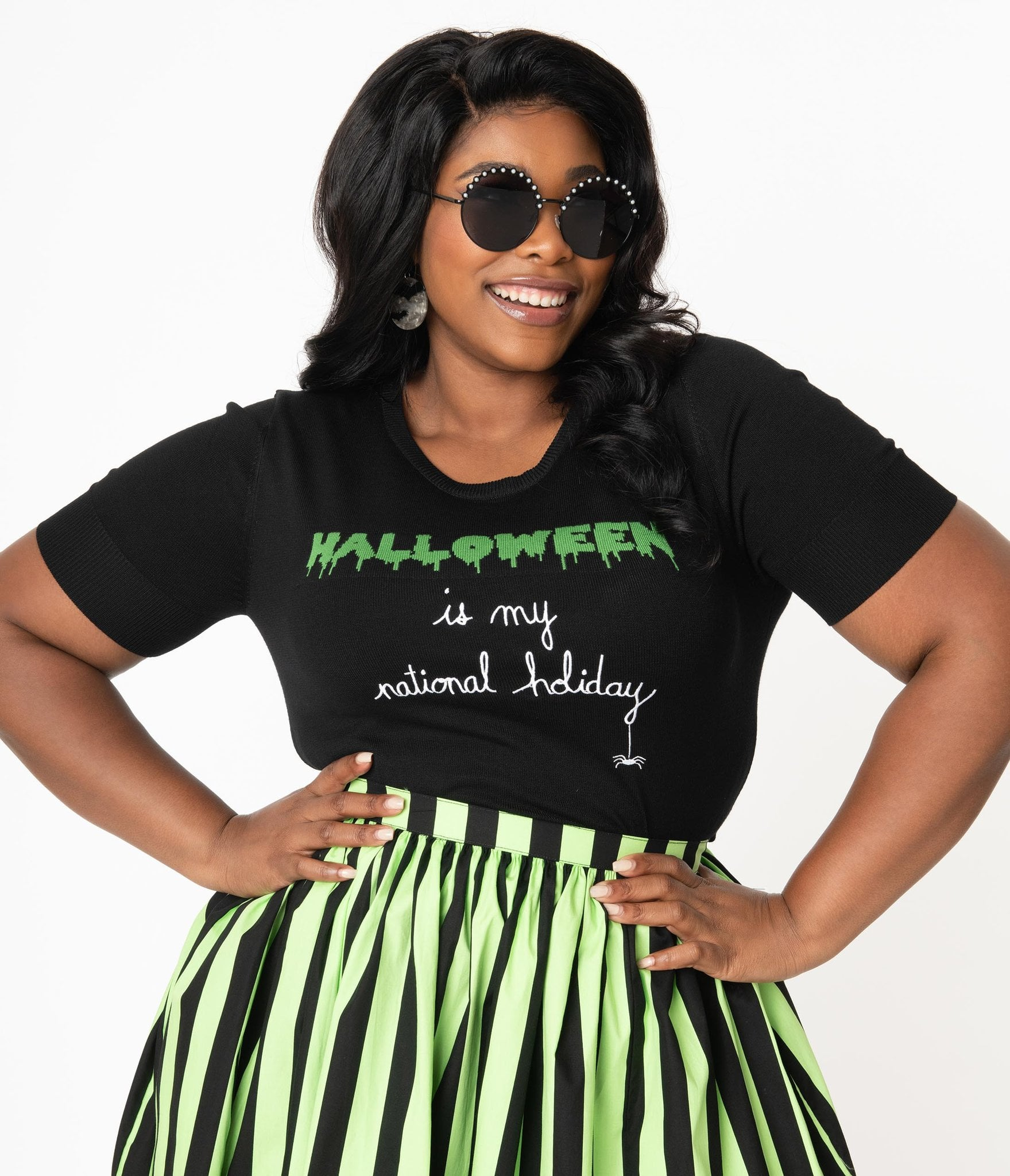 Halloween Bunnys 2020 Hell Bunny Plus Size Halloween Forever Knit Top | Unique Vintage