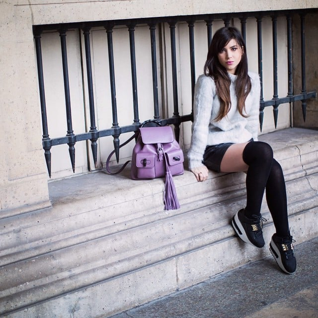 With Sneakers and a Leather Skirt