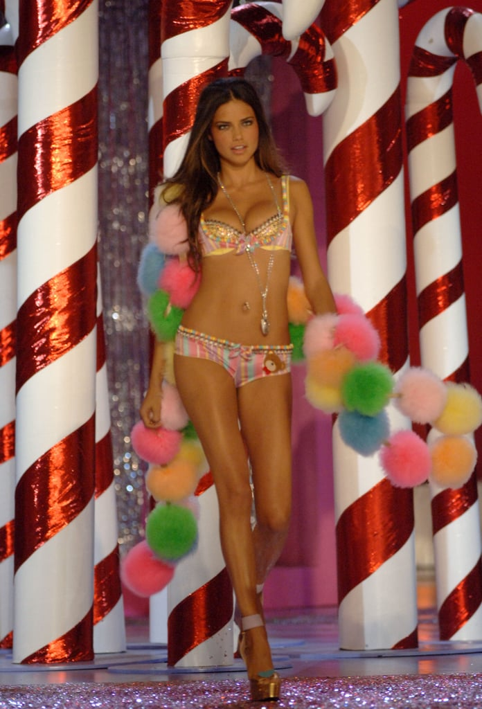 In November 2005, Adriana Lima showed off her abs in a colorful ensemble for the Victoria's Secret Fashion Show in NYC.