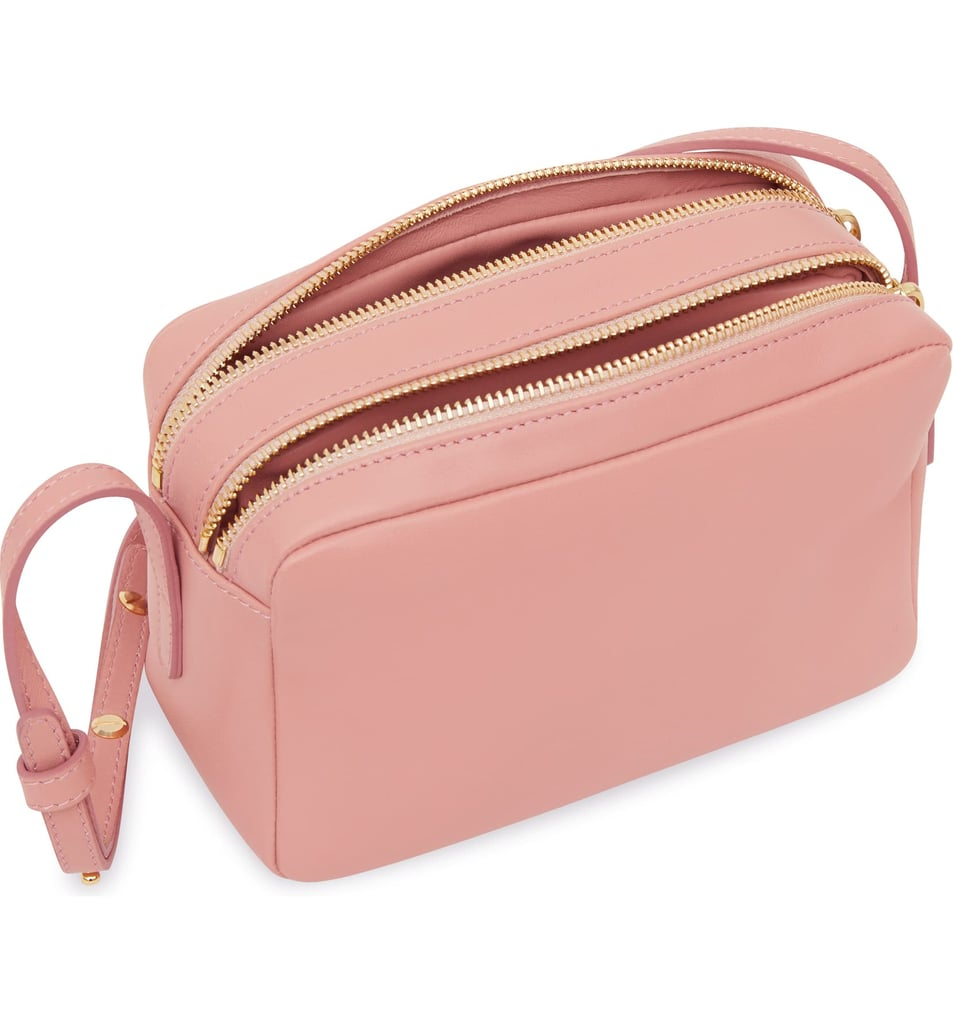 Mansur Gavriel Double Zip Lambskin Leather Crossbody Bag
