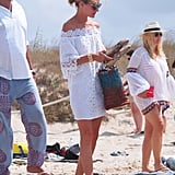 Olivia took off her Pretty Ballerinas snakeskin flats as soon as she hit the beach, though these are neutral and sturdy enough to wear on the boardwalk.