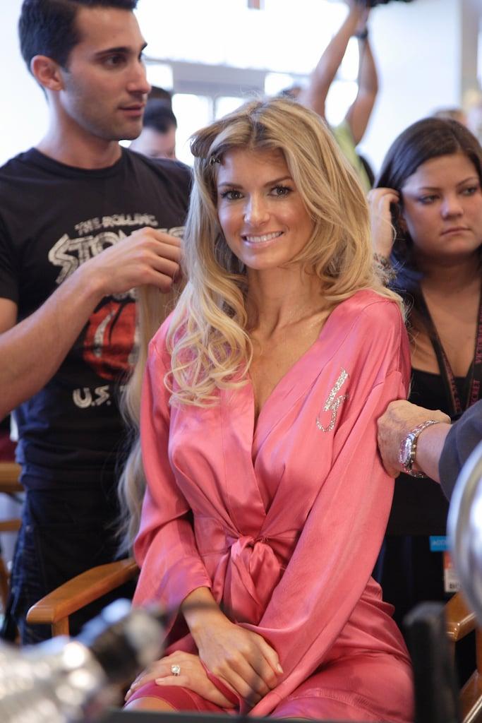 Marisa Miller primped in her pink robe in 2008.