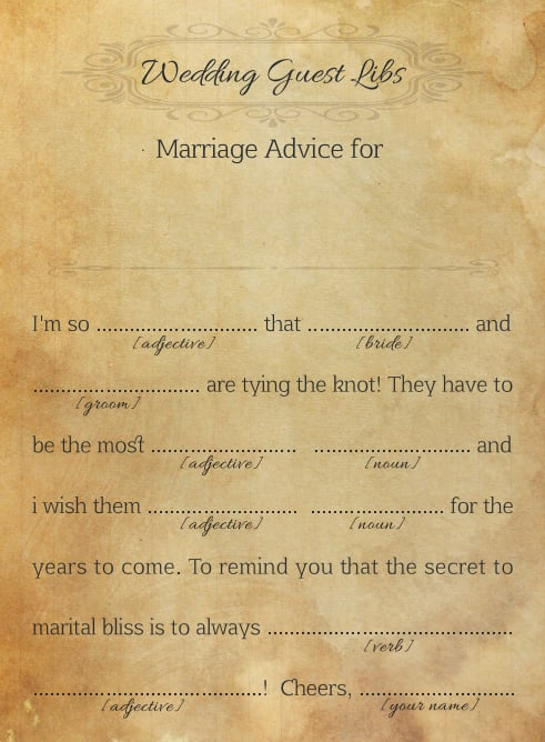 marriage advice for the couple free printable wedding mad libs