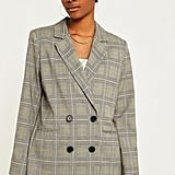 Urban Outfitters Yellow Check Double Breasted Blazer