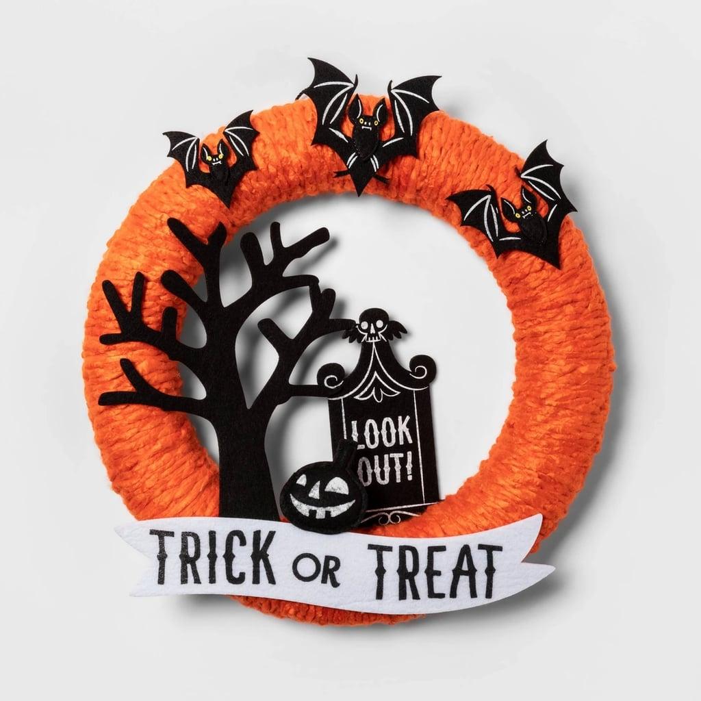Haunted House Fabric Yarn Wreath
