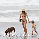 Gisele Bundchen showed her baby bump in a bikini with Ben.