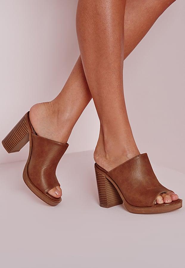 c3d69133aaf8d Missguided Peep Toe Block Heel Mules Tan ( 51)
