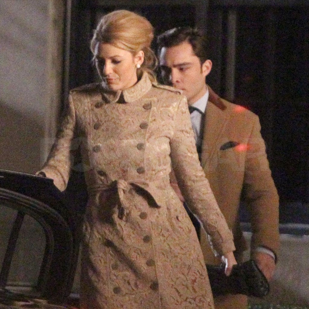 Blake Lively wore a camel trench.