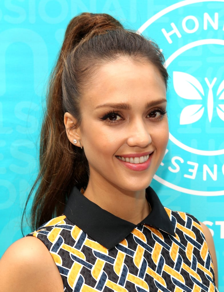 Flipping your head over is still the best way to get a superhigh ponytail similar to Jessica Alba's at her Honest Life event.