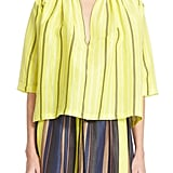 "Apiece Apart ""Agata"" Stripe Shirred Blouse ($335)"