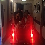 Kim and Kanye rode on the back of a golf cart at a pre-Valentine's Day show in Baltimore. Source: Instagram user kimkardashian