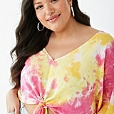 Forever 21 Plus Size Tie-Dye V-Neck Top