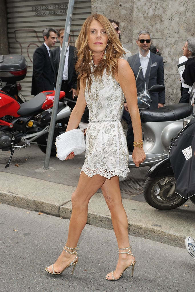 Anna Dello Russo in Dolce & Gabbana and Sergio Rossi shoes